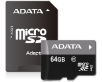 A-DATA UHS-I MicroSDXC 64GB class 10 + adapter AUSDX64GUICL10-RA1
