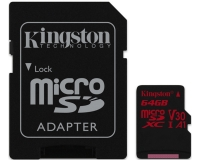 KINGSTON UHS-I U3 MicroSDXC 64GB V30+ Adapter SDCR/64GB React