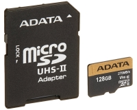 A-DATA UHS-II U3 MicroSDXC 128GB V90 class 10 + adapter AUSDX128GUII3CL10-CA1